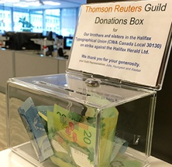 Halifax Strike Fund box at Thompson Reuters office