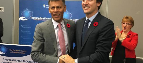 CLC's Hassan Yussuff and PM Justin Trudeau