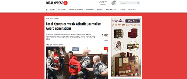 Local Xpress story about Atlantic Journalism Awards nominations