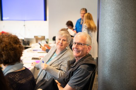 Victoria-Vancouver Island Newspaper Guild President Chris Carolan and administrative officer Deborah Service-Brewster.