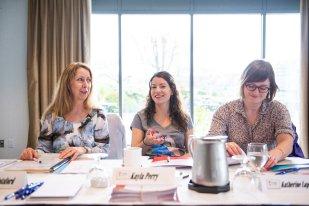 CWA Canada staff: Marj Botsford (left), office co-ordinator; Kayla Perry, Associate Members co-ordinator; Katherine Lapointe, Digital Media Organizer.