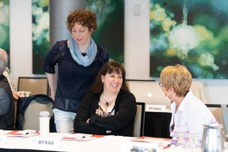 Sydney Typographical Union delegate Penny MacNeil (left); Saskatchewan Media Guild President Barb Pacholik; Ottawa Newspaper Guild President Debbie Cole.
